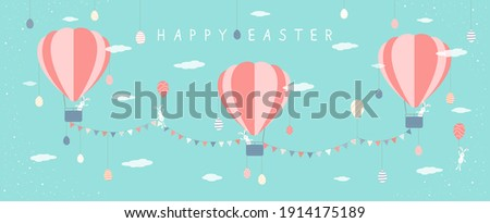 Easter Background with Eggs and Pennants Stock photo © derocz