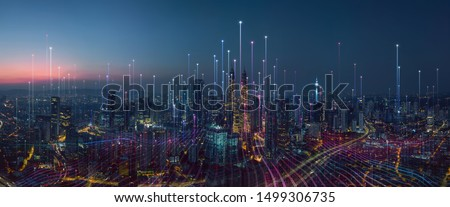 Cidade ilustração ver céu estrada paisagem Foto stock © colematt