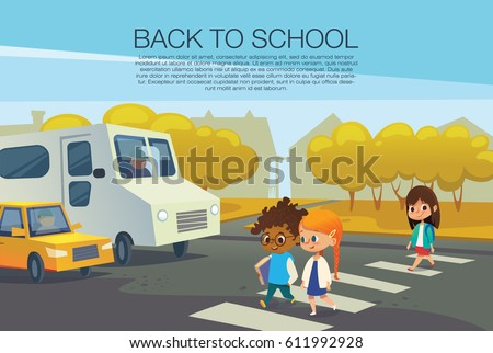 Pupils Walking in City, Crossing Road, Town Vector Stock photo © robuart