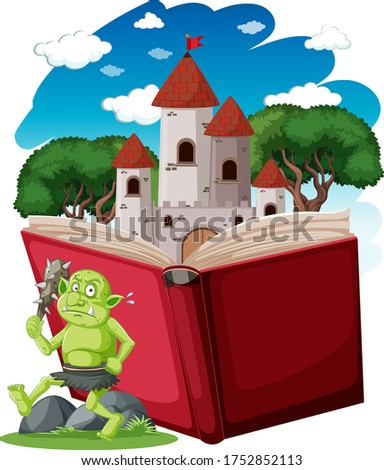Goblin or troll and castle tower on pop up book cartoon style on Stock photo © bluering