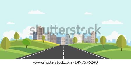 Landscape with road and trees Stock photo © carloscastilla