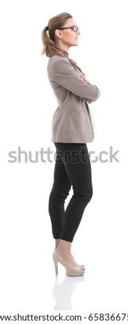 widok · z · boku · kobieta · stałego · sztuki · malarstwo · kobiet - zdjęcia stock © zzve