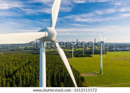 3D gegenereerde foto energie windmolen Stockfoto © flipfine