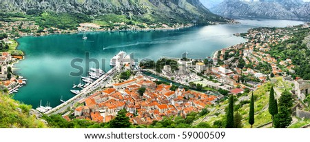 Bird eye view of buildings in Kotor old town, Montenegro Stock photo © vlad_star