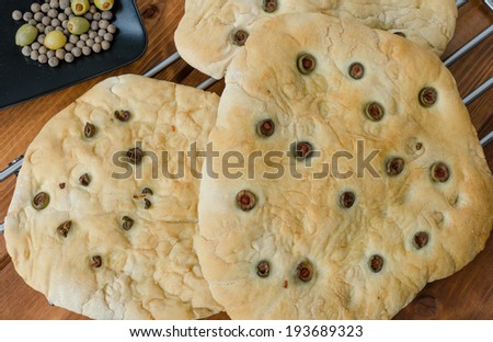 ekmek · zeytinyağı · tanıtım · zeytin · arka · plan - stok fotoğraf © m-studio