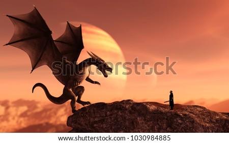 Sárkány lovag illusztráció hold szárnyak rajz Stock fotó © colematt