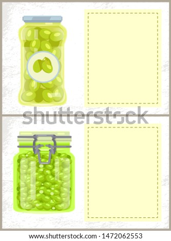 Canned Spicy Olives and Peas in Jars Banners Set Stock photo © robuart