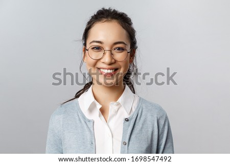 Close-up portrait of beautiful young woman in glasses. Face expr Stock photo © serdechny