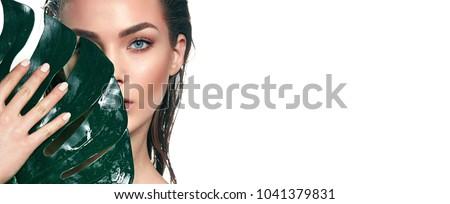 Gyönyörű divat modell portré nedves haj Stock fotó © DenisMArt