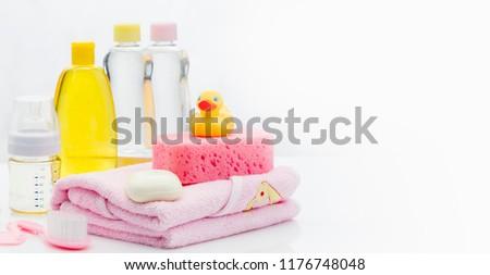 Foto stock: Azul · banho · toalha · sabão · estância · termal