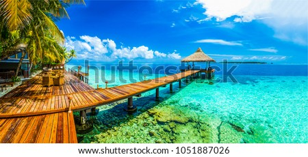 морем Мальдивы красивой кристалл Blue Sky небе Сток-фото © fyletto