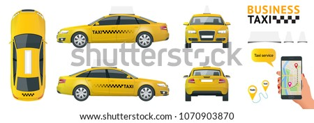 Taxi Cars Set, Cab Service in City Transportation Stock photo © robuart