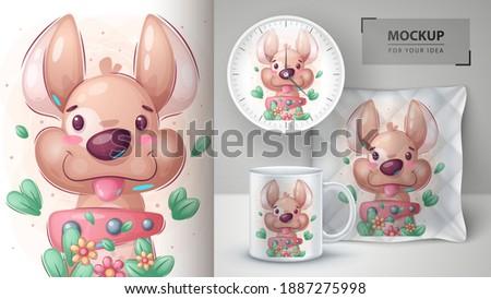Köpek poster vektör eps 10 doğum günü Stok fotoğraf © rwgusev