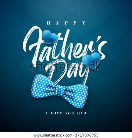 Happy Fathers Day Greeting Card Design With Dotted Bow Tie And Typography Letter On Blue Chalkboard Stok fotoğraf © articular