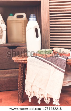Wooden cupboard of laundry equipment in home interior Stock photo © dashapetrenko