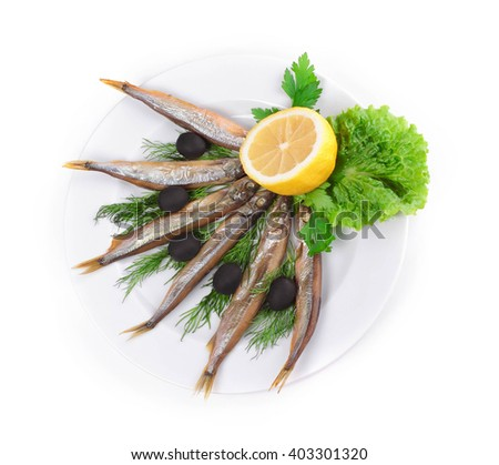 Stock photo: kipper fish on composition with vegetables