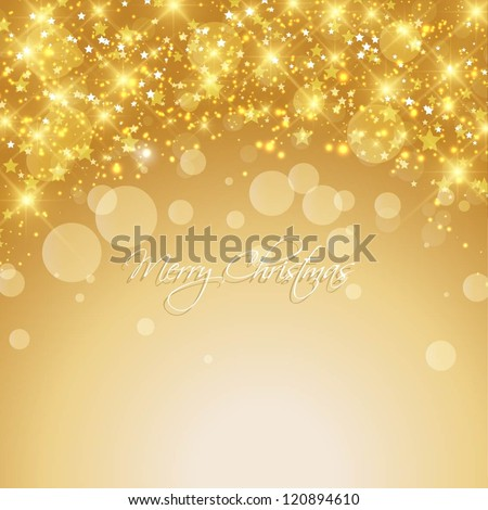Christmas Star On Gold Abstract Snowy Background Stockfoto © Kjpargeter