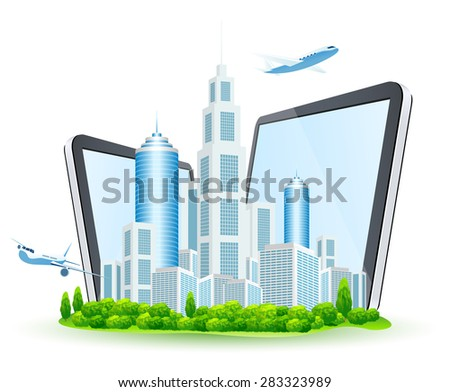 Business City with Two Tablet Computers and Two Airbuses Stock photo © WaD