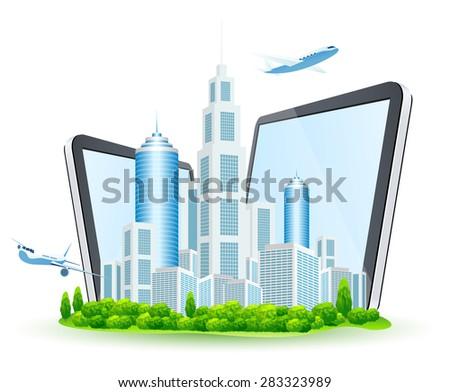 Affaires ville deux comprimé ordinateurs isolé Photo stock © WaD