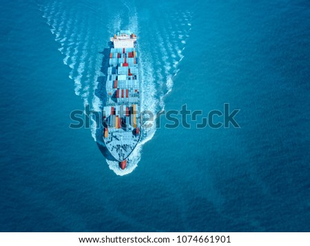 sea cargo merchant ship sailing blue ocean Stock photo © lunamarina