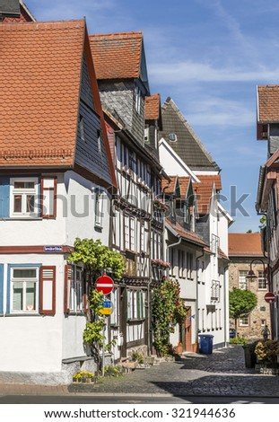 old timbered medieval houses in butzbach germany under blue sk stock photo © meinzahn