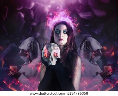 sensual · deusa · retrato · morena · preto - foto stock © fisher