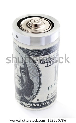 Stock photo: battery wrapped in a dollar bill