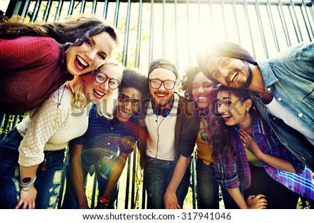 grupo · multitud · diversión · retrato · adolescente - foto stock © IS2