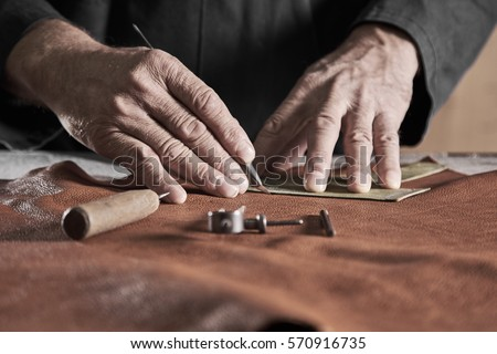 Stitching leather by hands Stock photo © pressmaster