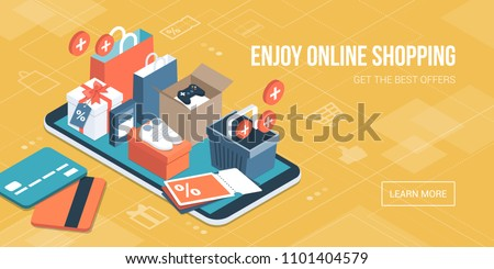 Isometric Online Shopping Delivery Stock photo © -TAlex-