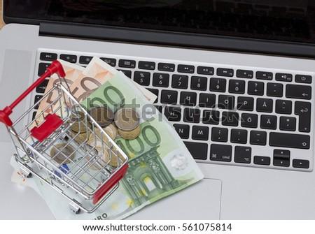 Laptop Bankkarte Münze Business Stock foto © yupiramos