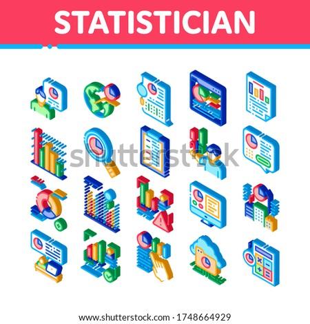 Assistent isometrische vector collectie onderzoek Stockfoto © pikepicture