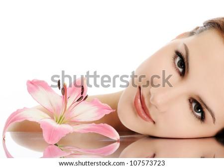 красивой улыбающаяся женщина Лилия великолепный довольно Spa Сток-фото © stockyimages