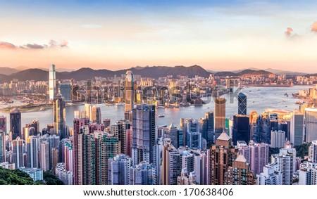 Hong · Kong · ver · arranha-céu · 2015 · pôr · do · sol - foto stock © meinzahn