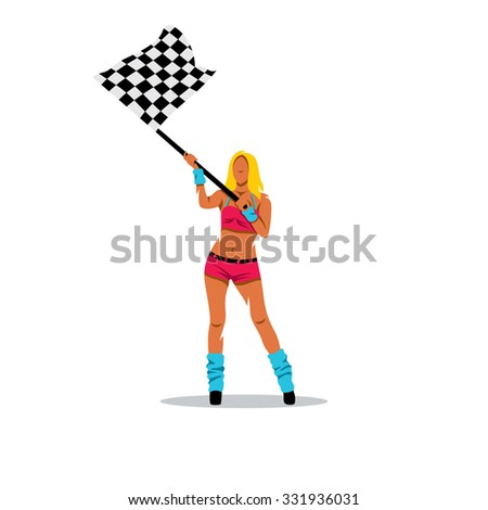 girl with the checkered flag Stock photo © adrenalina