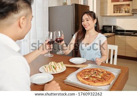Asian couple potable vin rouge Photo stock © Kzenon
