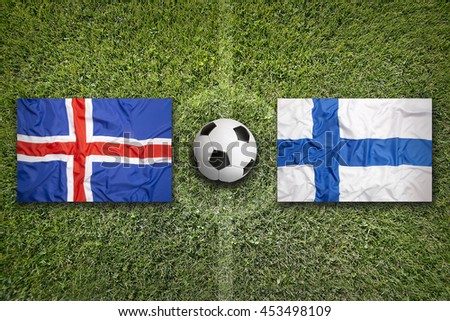 Iceland and Finland flags on soccer field Stock photo © kb-photodesign