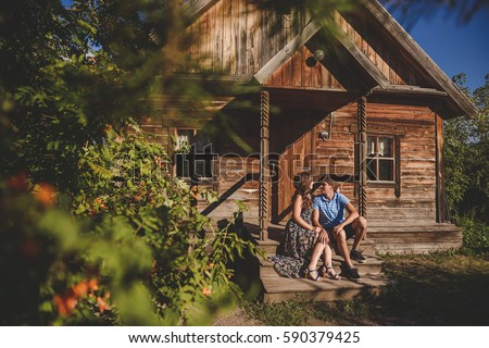 Man and woman outside country house Stock photo © IS2