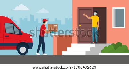 Futár fal piros csomag tervez csekk Stock fotó © IS2