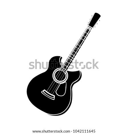 Gitar vektör ikon yalıtılmış beyaz düzenlenebilir Stok fotoğraf © smoki