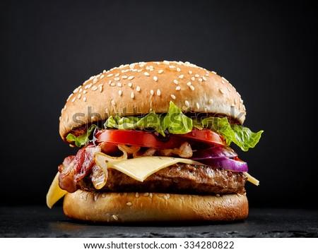 Stok fotoğraf: Taze · lezzetli · Burger · hizmet · patates