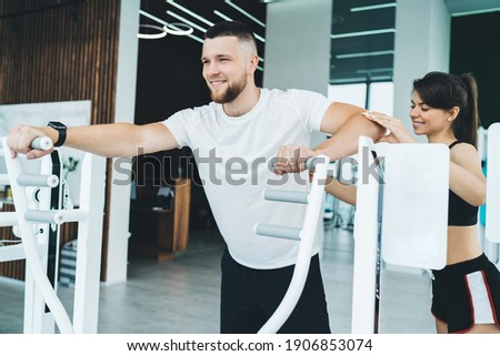 Manly, strong and confident sportsman, wear activewear, sports t-shirt, hold hands on waist, standin Stock photo © benzoix