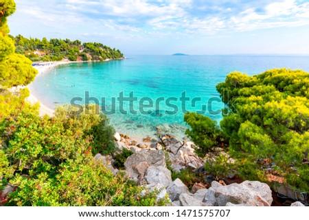 Puesta de sol mar Grecia cielo paisaje verano Foto stock © borisb17