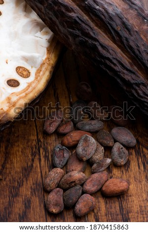 Cocoa (cacao) beans on a beanpod with focus on foreground. Stock photo © joannawnuk