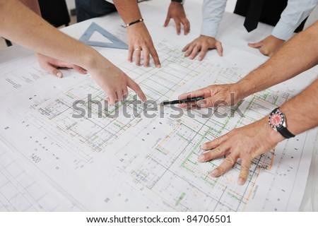 Team Of Architects On Construciton Site Сток-фото © dotshock