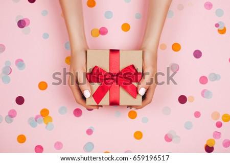 Beautiful present box with the bow Stock photo © tannjuska