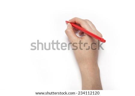 hand with red pen stock photo © Grazvydas