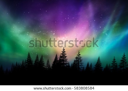 Northern lights aurora borealis landscape Stock photo © Juhku