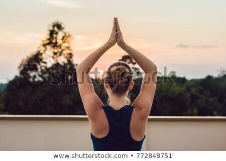 Jeunes athlétique femme yoga toit Photo stock © galitskaya
