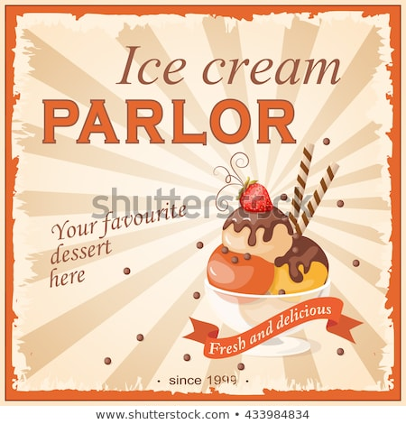 Vintage Poster with Ice Cream Balls and Strawberry in Paper Cup Stock photo © lissantee